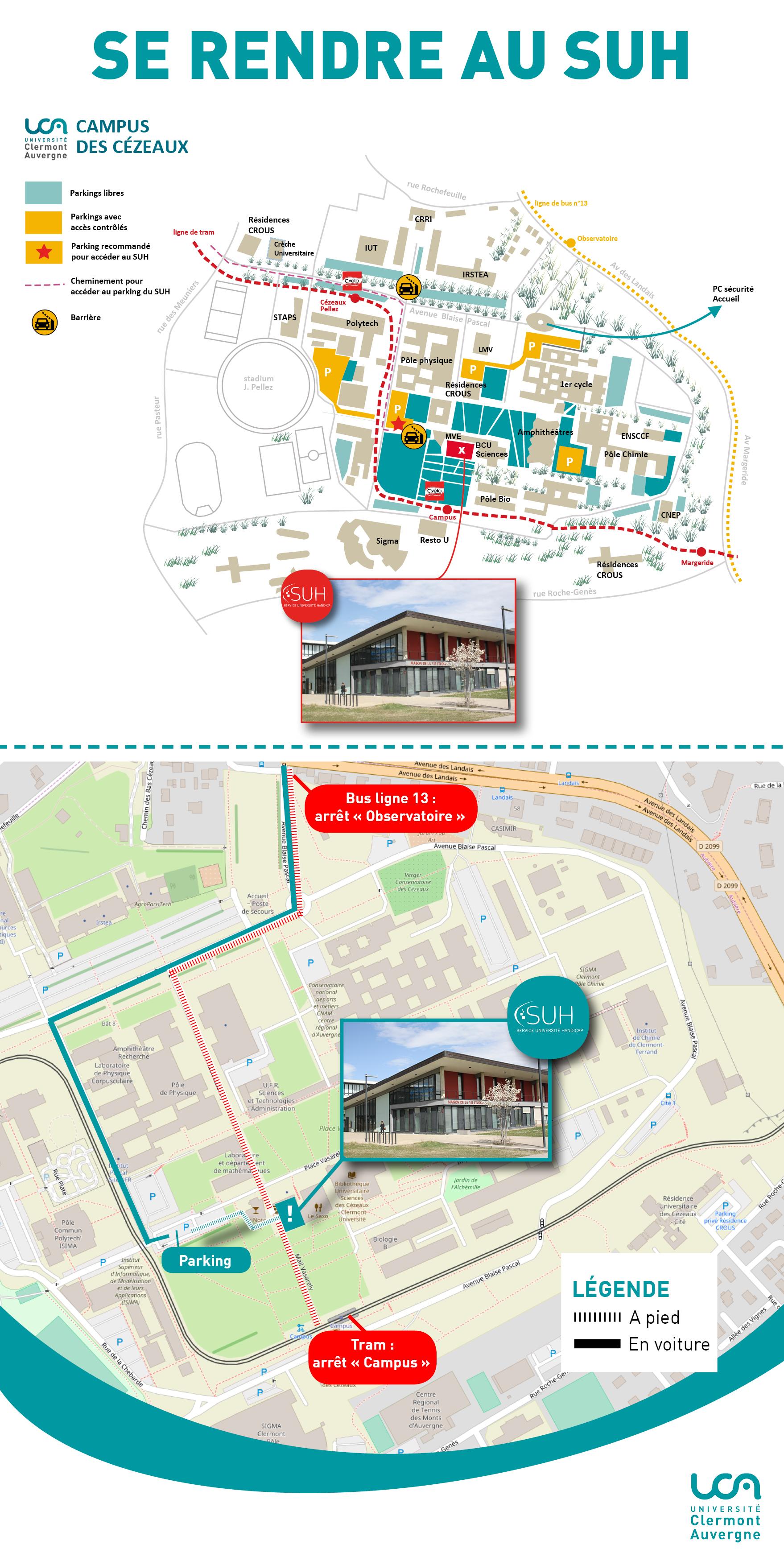Carte du campus des Cézeaux